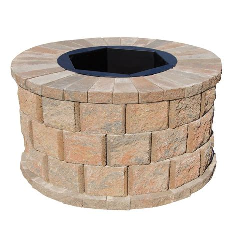 home depot pit insert pavestone 40 in w x 22 in h rockwall pit kit