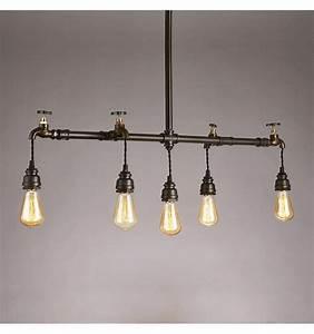 Suspension Luminaire En Verre Transparent : luminaire tuyau style industriel 5 lumi res neptune ~ Teatrodelosmanantiales.com Idées de Décoration