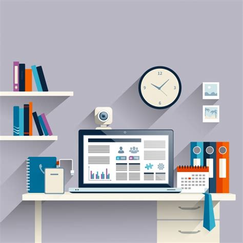 computer desk with shelf workplace background with laptop vector free