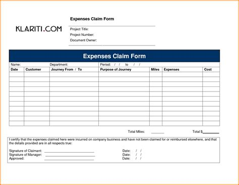 claim expenses form template 6 expense form expense report