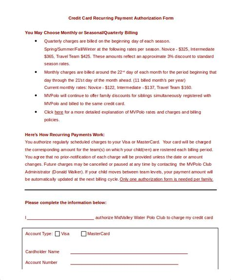 credit card authorization form template 10 free sle exle format free premium