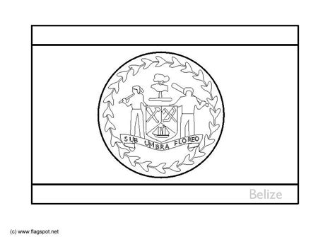 coloring page flag belize img
