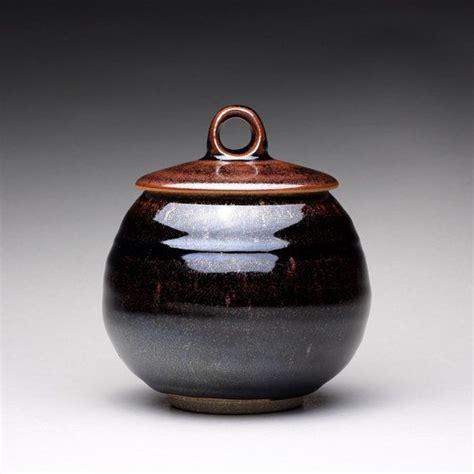 handmade ceramic jar lidded jar sugar bowl  black brown tenmoku  green celadon glazes