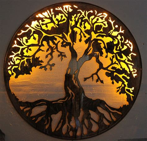 """21,182 results for wall led decoration. Tree of Life Metal Wall Art 24"""" Lit with AC powered LED lights by HGMW"""