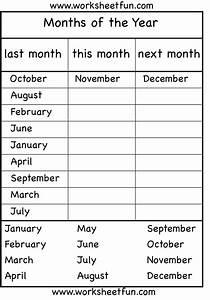 Months Of The Year  U2013 4 Worksheets    Free Printable