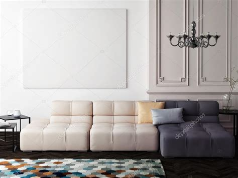Just upload your design and watch it come to life in context! Mock up blank poster on the wall of living room — Stock Photo © CorDesign #114520824