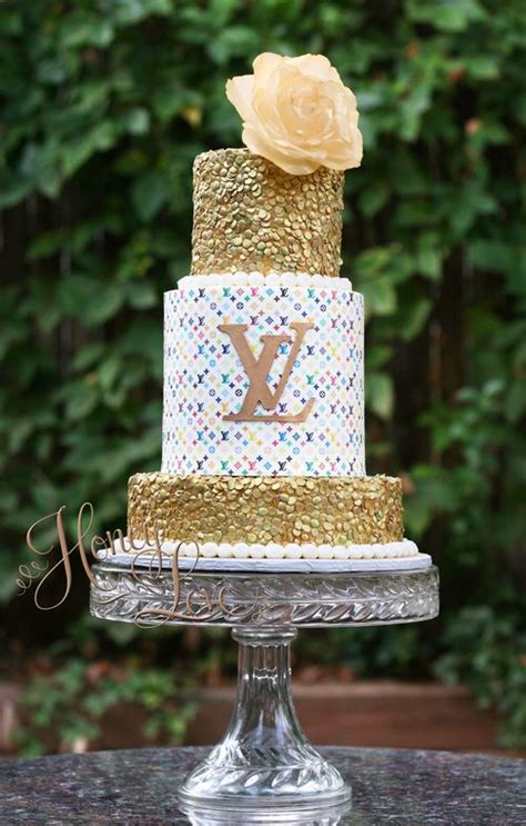 colorful louis vuitton inspired birthday cake  gold sequins   handmade edible wafer