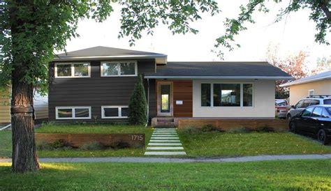 modern makeover    split level home exterior