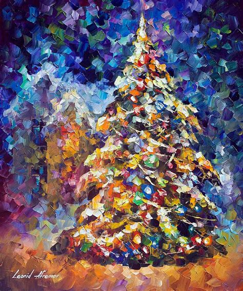 Painting Ideas by Fir Tree Palette Knife Painting On Canvas By Leonid