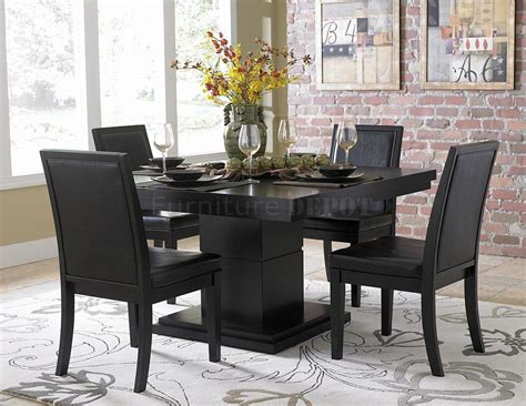 black dining room sets black finish modern dining table w optional side chairs