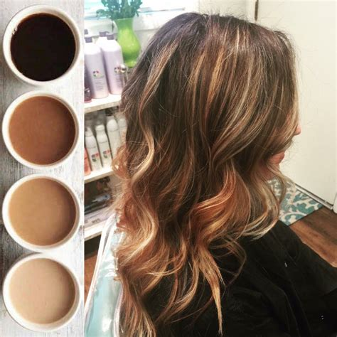hair with colored highlights coffee colored balayage highlights brown hair with