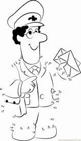 Postman Pat Coloring Worksheets Printable Pdf Dot Preschool Kleurplaat Dots Connect Occupations Postino Postbote Worksheet Pieter Kindergarten Postal Mailman Ausmalbilder sketch template