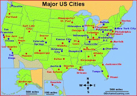 major cities   usa enchantedlearningcom