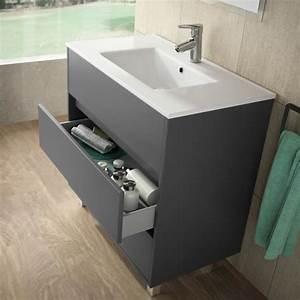Meuble salle de bain et vasque porcelaine 80 cm achat for Vasque et meuble