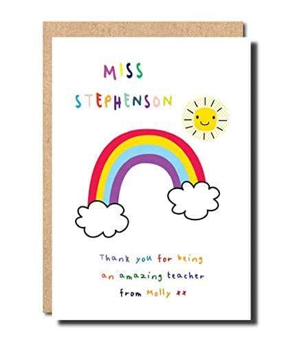 card  teacher rainbow personalised handmade