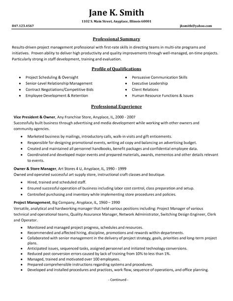 project management resume sles 2016 sle resumes