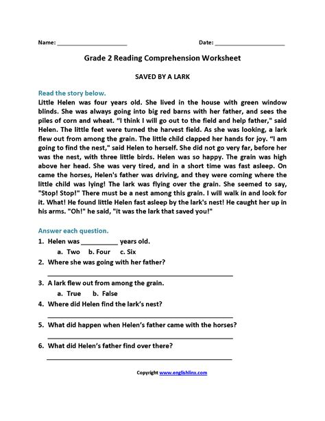 worksheet 2nd grade comprehension worksheets grass fedjp