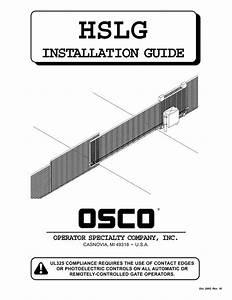 Osco Hslg Gate Opener Sliding Commercial Operator Manual