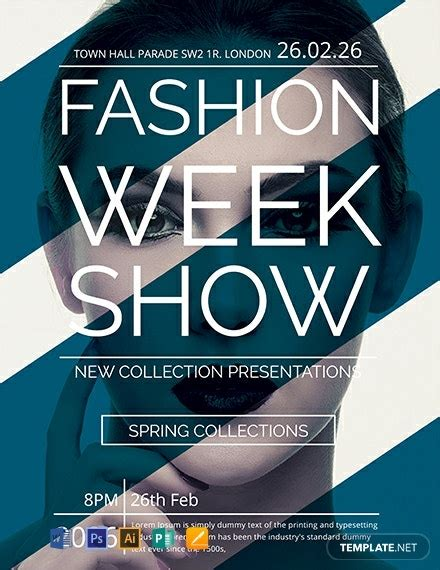 fashion week show flyer template word  psd