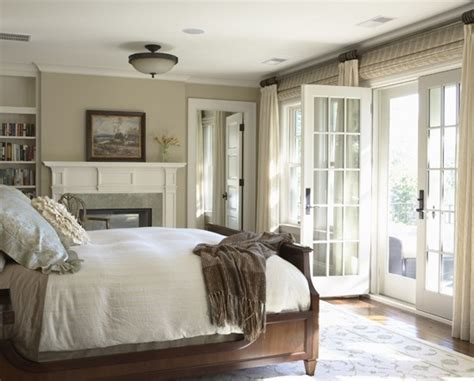 French Folding Doors, Country Master Bedroom With