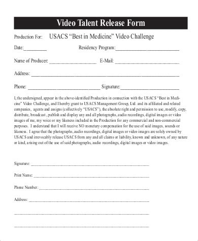 sample talent release forms sample templates