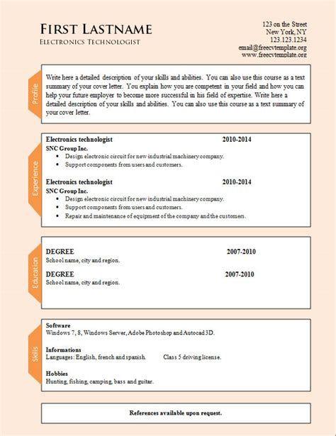 Resume Formats Free Word Format by Word Cv Resume Templates 954 To 960 Free Cv Template Dot Org