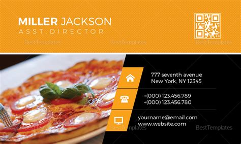 pizza business card design template  psd word publisher