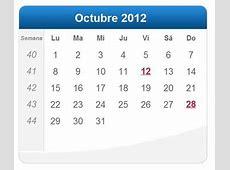 Calendario Octubre 2012 DeFinanzascom