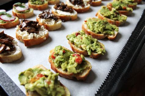 canape toppings vegetarian food three crostini toppings