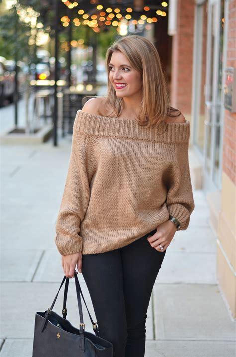 Camel Off Shoulder Sweater   By Lauren M