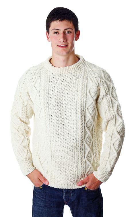 sweaters com 39 s aran handknit crew sweater moriartys authentic