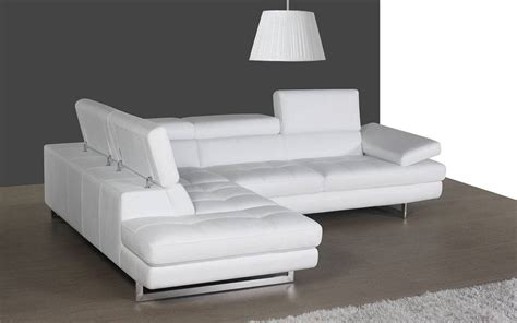 contemporary white leather sectional  curved armrest