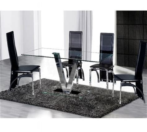 clear glass dining table and 4 chairs v dining table and 4 black chairs in clear glass homegenies