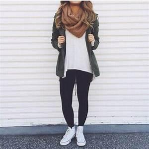Converse fall fashion jacket leggings - image #4016692 by helena888 on Favim.com