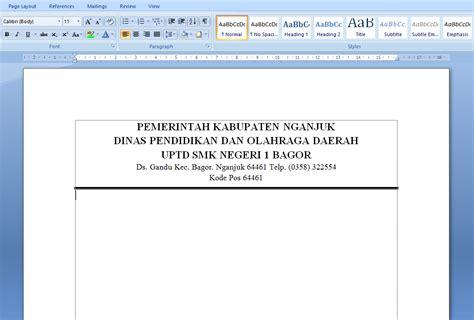 Cara Buat Ban Pt Akreditasi by Cara Membuat Garis Kop Surat Di Microsoft Word 2007 2010