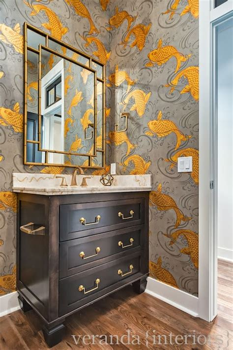 koi fish wallpaper transitional bathroom veranda