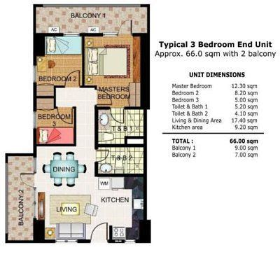 3 Bedroom Floor Plan In Philippines by Illumina Residences 3 Bedroom Unit Floor Plan Condo