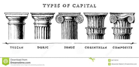 Types Of Capital Classical Order Stock Vector