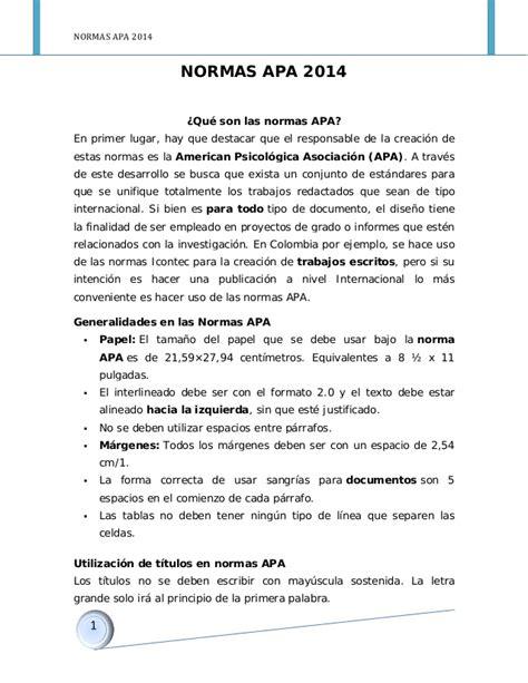Normas Apa 2014 Para Resumen by Normas Apa 2014