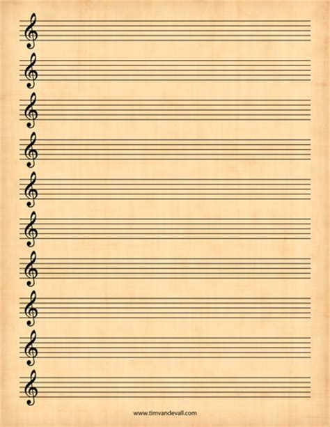 Treble Staff Paper Template by Blank Treble Clef Staff Paper Free Sheet Music Template Pdf