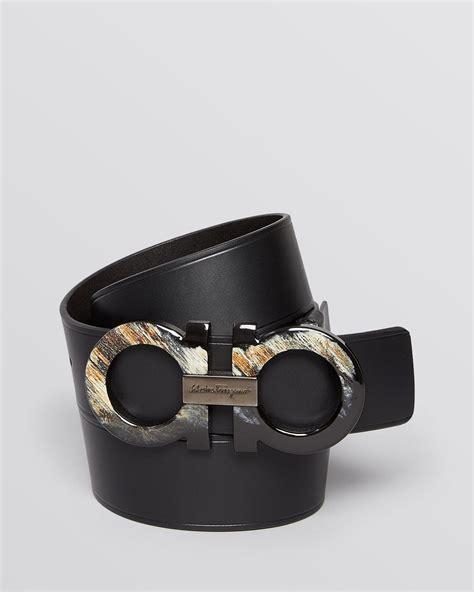 Ferragamo Groppone Liscio Leather Belt With Horn Buckle In