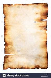 Vintage yellowish parchment paper with burnt edges Stock ...