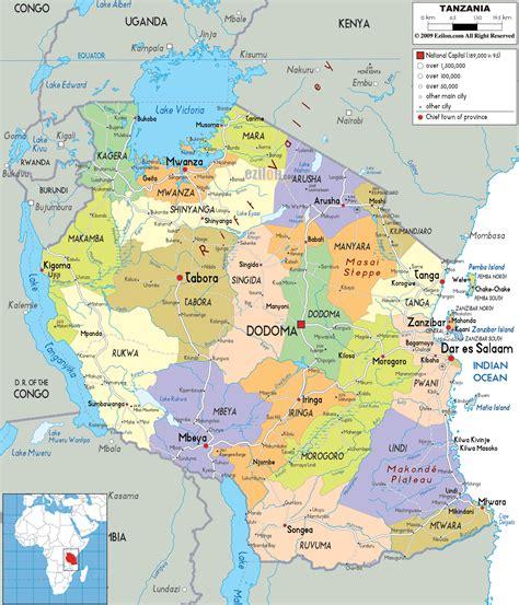 political map  tanzania ezilon maps