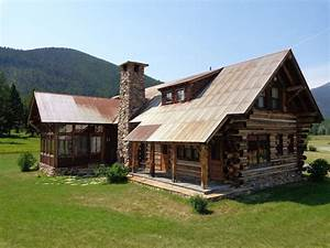 Log Cabin Metal Roof Exterior Rustic With Mountain Home