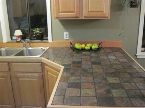 Countertop Colors With White Cabinets, Slate Tile Kitchen
