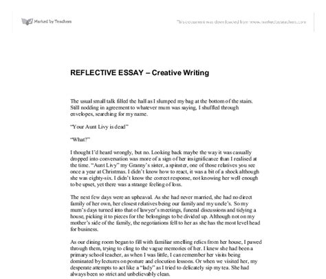 reflective essay gcse english marked  teacherscom