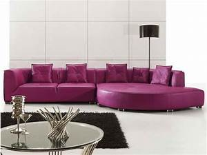 Purple leather sectional sofas for your room with black for Modern purple sectional sofa