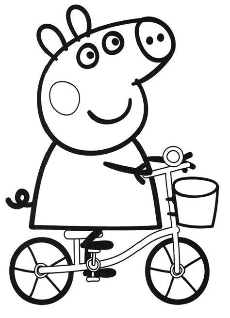 disegni on line da colorare peppa pig peppapig in bicicletta disegni da colorare