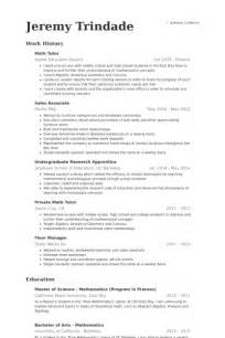 Math Resume Sle by Tutor Resume Template 40 Images Tutor Resume Template 11 Free Word Excel Pdf Format Free
