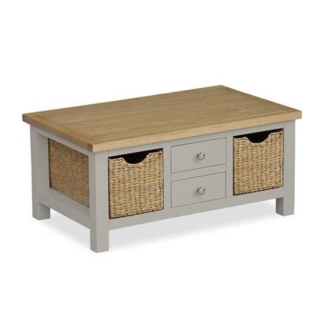 Find a great selection of wood coffee tables, metal accent tables, storage tables & more. Farrow Grey Painted Coffee Table with Storage Baskets | Oak - Roseland Furniture